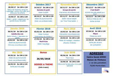Planning d'activité 2017-2018