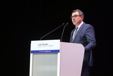 Le maire du Havre Luc LEMONNIER, lors de son discours d'introduction des Assises Economie de la mer, organisées au Havre les 21 et 22 novembre 2017