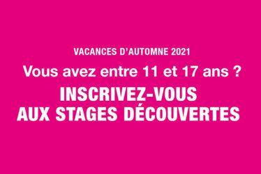 stages découvertes - Toussaint 2021 - Service Jeunesse