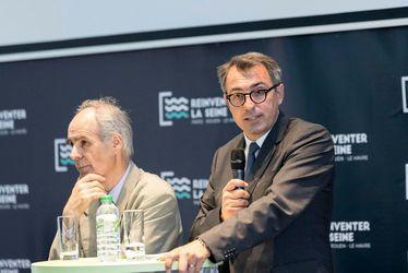 """Luc LEMONNIER, maire du Havre et président de l'agglomération havraise, lors de l'annonce des lauréats de l'appel à projets """"Réinventer la Seine"""""""