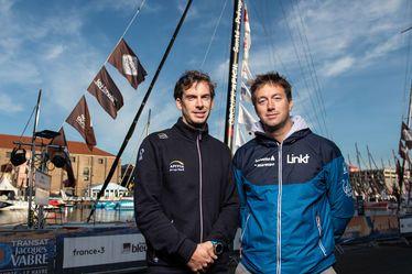 Les skippers havrais Charlie Dalin et Cédric Château (à droite), sur le village de la Transat Jacques Vabre Normandie - Le Havre 2019