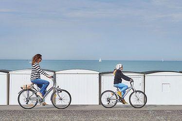 cabane, vélo, promenade, digue, plage, mer