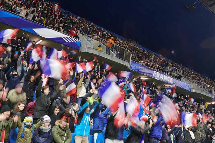 Les tribunes du Stade Océane en effervescence lors du match amical France - États-Unis le 19 janvier 2019