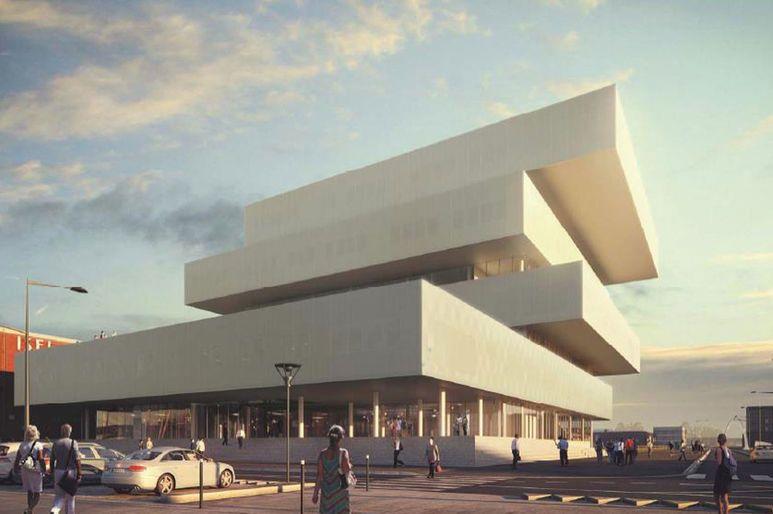 Perspective du futur bâtiment de l'EM Normandie et de la Cité Numérique