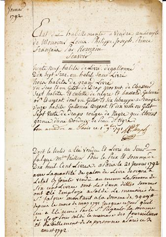Etat des habillements à vendre de Philippe Joseph Prince français, Signé et daté, Philippe Joseph Prince d'Orléans, Paris, 1er novembre 1791, Manuscrit sur papier vergé, h. 31,2 x l. 19,9 cm. 25/09/2014, Don  Didier Thiery. Inv. 2014.3.1
