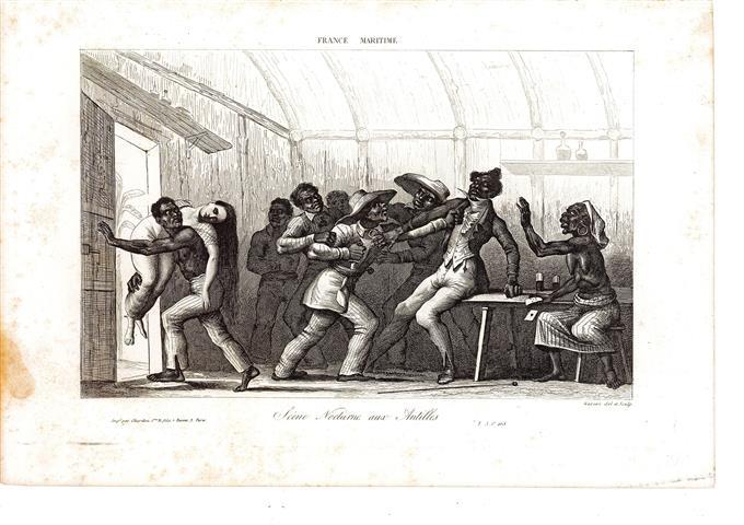 « Scène nocturne aux Antilles », 1855, estampe de Masson, extrait de Amédée Gréhan, La France Maritime, t. 3, p. 265, Gravure sur acier,  h. 19,5 cm x l. 28,5, 20/06/1988, achat de la ville, Galerie l'Orange, 14-16 av. Foch, 76600 Le Havre. Inv. MA.1988.1