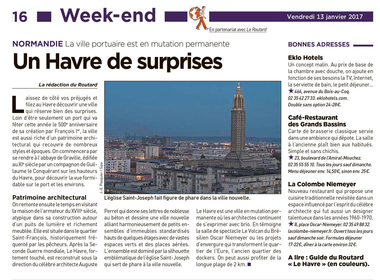 Article consacré au Havre dans l'édition du 13 janvier 2017 de 20 Minutes