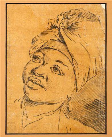 Portrait d'un serviteur noir, XVIIIe siècle, anonyme, dessin à l'encre sur papier calque ou huilé, h. 17,8 x l. 13,8 cm. 25/09/2014, Don  Didier Thiery. Inv. 2014.3.2 © Image_ F.Dugué_F.Carnuccini_IMAGE
