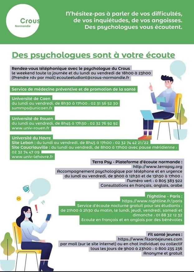 Informations soutien psychologique pour les étudiants